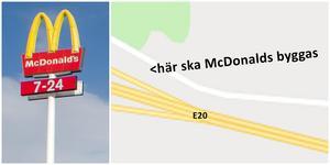 McDonalds är på gång till Nykvarn. Förhoppningen är att snart vara i gång med bygget intill motorvägen. Illustration: LT / Google maps