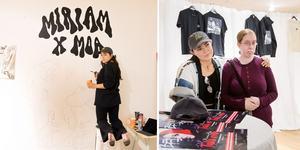 Moa Romanova Strinnholm, Miriam Bryant och Anna Hollsten  var alla på plats i dne tillfälliga butik där artisttröjorna såldes.