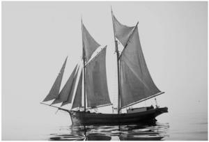 Den baltiska flyktingbåten Manni slet sig och försvann ur sikte utanför Landsort. Martin Jungermann undrar om någon känner till en eventuell vrakdel från fartyget, som eventuellt ska finnas i trakten kring Nynäshamn. Foto: Privat