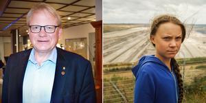 Försvarsminister Peter Hultqvist och klimataktivist Greta Thunberg.