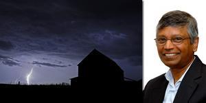 Blixtnedslag, foto: Charlie Riedel/ TT. Vernon Cooray, Seniorprofessor i elektricitetslära, foto: Uppsala univeristet