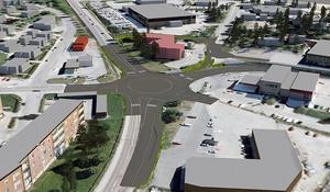 I Trafikverkets förslag finns en rondell istället för trafikljus vid korsningen Smedgatan och Hudiksvallsvägen. Hybovägen föreslås stängas och en ny anslutning från Hudiksvallsvägen byggas. Illustration: Sweco.