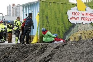 Aktivister utförde under måndagen en aktion på Östrandsfabriken.