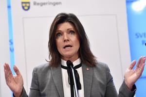 Eva Nordmark håller presskonferens.
