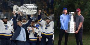 Monatge. Bilder: TT/Privat. Förra gången Oskar Sundqvist vann Stanley Cup, då med Pittsburgh Penguins, fick bucklan följa med hem till Boden.