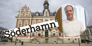 Montage. John-Erik Jansson (C) är ordförande i kommunstyrelsen i Söderhamn som nyligen godkänt en ny platslogotyp för Söderhamn.