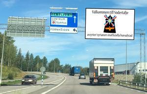 Skribenten föreslår ny skyltning vid Södertäljes infarter. Foto: LT-arkiv (bilden är ett montage)
