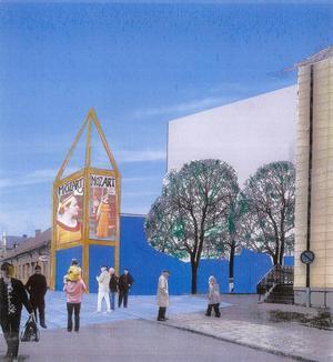 Jack Hansons och Arne Ludvigssons förslag på nytt konserthus i Falun, vid gamla postenparkeringen. Illustration: SAR/MSA-arkitekterna Arne Ludvigsson och Jack Hansson