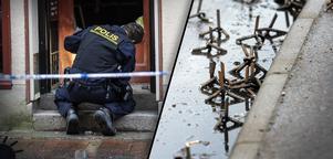Fotomontage: Mikael Hellsten/TT. Uppgifter från polisen bekräftar vittnesuppgifter om spikar i samband med inbrottet.