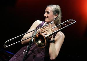 Karin Hammar med sin trombon. Foto: Claudio Bresciani / TT/ Arkiv