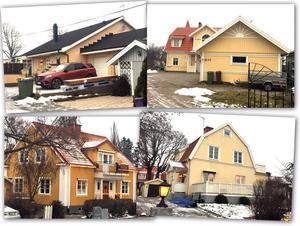 Överst till vänster: Nummer 2 på listan har VLT skrivit om tidigare. Det är en stor lyxvilla i Enhagen med strålande utsikt över Mälaren. Pris: 10,2 miljoner. Överst till höger: Nummer 3 på listan är ett glatt gulfärgat hus på Tidö-Lindö, som formligen lyser i vintermörkret. Pris: 9 miljoner kronor. Längst ner till vänster: Detta hus på Stallhagsgatan 10 blev det dyraste huset inne i Västerås stad, och kostade köparen 8,995 miljoner. Längst ner till höger: 8 miljoner kostade detta hus på Nedre Hyttvägen 6 på Stallhagen. Påfallande många av de dyraste husen är i olika nyanser av gult.