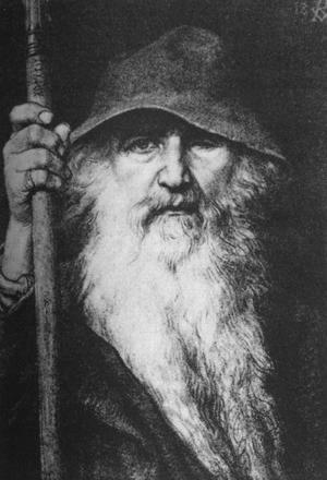 Guden Oden uppträder ofta som en gammal vandrare i den nordiska mytologin. Målning  av Georg von Rosen från 1886.