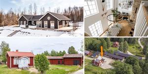 Ett montage med några av de hus som finns med på Klicktoppen för vecka 13, sett till de hus i Dalarna som fått flest klick på bostadssajten Hemnet under förra veckan.