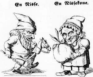 Ett tomtepar. Dansk illustration från 1858 av okänd upphovsman.