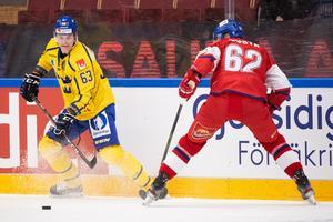 Fredrik Händemark var besviken över Tre Kronors förlustmatch mot Tjeckien men gladdes åt stödet från läktarhåll. Foto: Daniel Eriksson/Bildbyrån