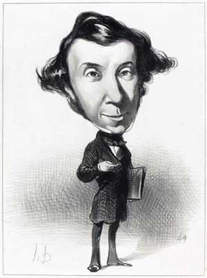Honoré Daumiers karikatyr av Alexis de Tocqueville från 1849.