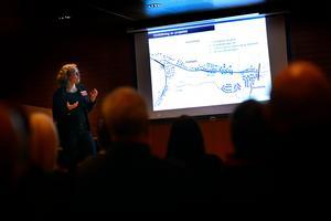 Kerstin Holmgren inledde mötet med att berätta om bakgrunden till ombyggnationen av Juniskärsvägen.
