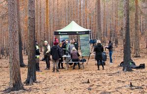 Skogsstyrelsen hade valt att lägga sin presskonferens i det brandskadade området invid Abborrtjärn.