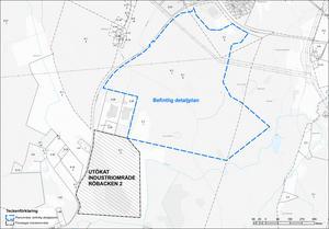 Röbacken 2 placeras precis i anslutning till det befintliga, byggklara, området. Skiss: Smedjebackens kommun