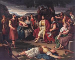 Asagudarna är samlade kring den döde guden Balder. Målning av Christoffer Wilhelm Eckersberg från 1817.