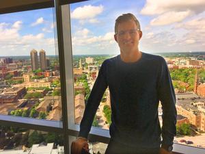 Marcus Ericsson har en hyfsad utsikt från sin lya i centrala Indianapolis.