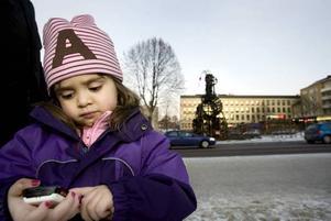 LEDSEN. Alexandra Gunnarsson, tre och ett halvt år, har lånat pappas mobilkamera för att ta bilder på resterna av bocken.– Vi bor precis i närheten och Alexandra blev jätteledsen i morse när hon fick höra att den brunnit, berättar pappa Per Gunnarsson.