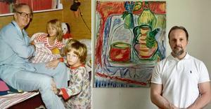 Till vänster: Carl-Eric Björkegren nattar barnen Anne och Carl  i Sandviken. Till höger: Carl Björkegren i vuxen ålder med hans pappas tavla i bakgrunden. Bilder: Privat