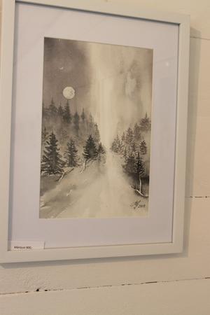 Månljust, akvarell av Märit Jonsson.