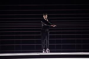 Benjamin Ingrosso under finalen i Eurovision song contest i Lissabon 2018. Foto: Stina Stjernkvist / TT