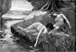Ett par sjörån  vilar vid vattnet. Målning av Bernard Evans  från 1909.
