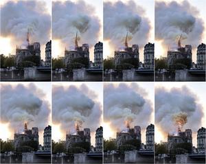 Bildcollage över branden i Notre Dame-katedralen den 15 april. AP Photo/Diana Ayanna