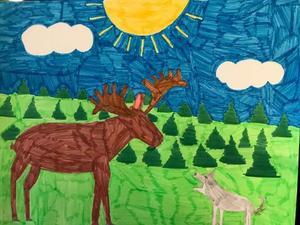 Anders Erikssons ena barn målade en teckning på Tyr efter att han hade dött. Bilden föreställer Tyr på älgjakt.