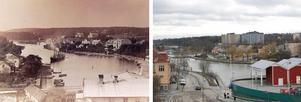 Staden förändras, vilket bilderna över inre Maren visar. Bilden till vänster är daterad till tidigt 1920-tal. Bilden till höger är från mars 2019.  Foto: Arkivbild och Tomas Karlsson