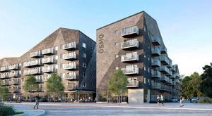 De planerade husen från Nyblevägen sett. Illustration: Arkitema Architects