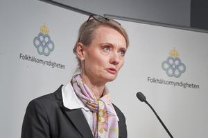 Karin Tegmark Wisell, avdelningschef Folkhälsomyndigheten, deltar under torsdagens myndighetsgemensamma pressträff om coronapandemin.