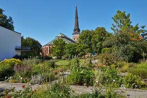 Västerås domkyrka med stadens botaniska trädgård i förgrunden. Foto: Christer T Johansson