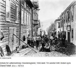 Arbetare vid nuvarande Residensgränd.