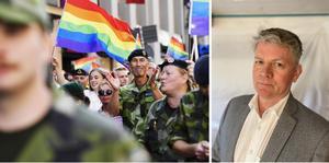 Sveriges ÖB Micael Bydén på en prideprad i Stockholm 2019.foto: Stina Stjernkvist