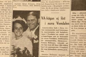 Problem att få VA-systemet att räcka till är ingen ny fråga. Till vänster har Helge Sahlin och Yvonne, född Mattson, från Kolsätt gift sig.