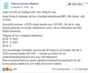 Så här ser det ut för Hälsocentralen i Nyland efter årets första åtta månader. Skärmdump Facebook.