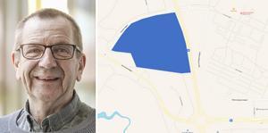 Nu ska det nya krematoriet i Skövde få sin gestaltning i ett parallelluppdrag där fyra arkitektbyråer är med och tar fram förslag. Blå markering indikerar tomtområdet i norra delen av Skövde tätort, ej exakt plats för byggnader och begravningsplats.