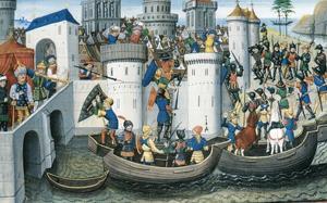 Korsfararna angriper och erövrar kristenhetens då största stad Konstantinopel 1204. Målning av okänd konstnär.