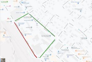 Röd sträcka är avstängd. Grön sträcka är den väg man behöver ta under vecka 43.