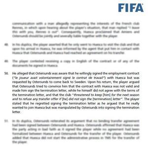 I Fifas beslut finns citat från Saman Ghoddos där han berättar om hur han blev pressad att häva det kontrakt han skrev på med Huesca.