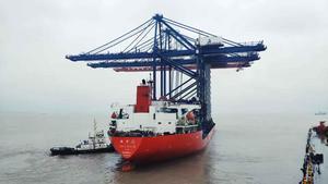Containerkranarna är drygt 80 meter i nedfällt läge, kan ta 22 enheter i bredd och lyfta 65 ton. Foto: Stockholms Hamnar