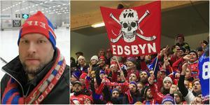 Clas Blom, ordförande i Edsbyn Red Farmers, hoppas att swish-insamlingen når 100 000 kronor innan matchen mot Vetlanda nästa söndag.
