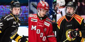 Philip Broberg, Mattias Norlinder och Victor Söderström kan bli tidiga svenskar i draften. Foto: Bildbyrån.