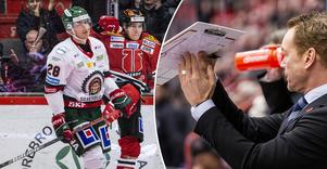 Joonas Rask jublar efter efterlängtat mål, och hyllas stort av tränaren Niklas Eriksson. Bild: Johan Bernström/Bildbyrån