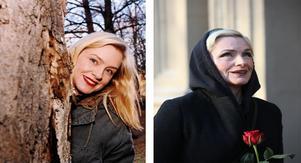 Då: Skådespelaren Regina Lund 1994. Bild: Nick Blackmon.Nu: Regina Lund 2018. Bild: Sören Andersson/TT.