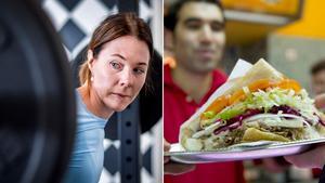 Genrebild. Till vänster en styrketränade kvinna, till höger serveras en döner kebab.